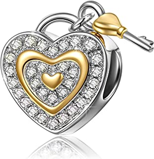NINAQUEEN Christmas Charms Gifts 925 Sterling Silver Charms with Fine Gifts Packing, Gold Plated Heart Key Beads Engraved Love You Forever, Suitable for Bracelet