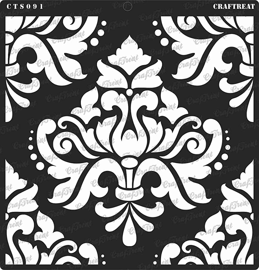 CrafTreat Stencil - Bold Damask | Reusable Painting Template for Journal, Notebook, Home Decor, Crafting, DIY Albums, Scrapbook and Printing on Paper, Floor, Wall, Tile, Fabric, Wood 12