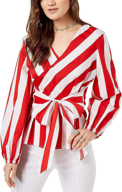 INC International Concepts Striped Wrap Blouse
