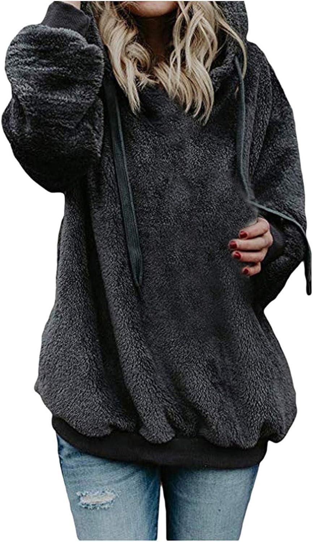 Lovor Womens Oversized Sherpa Pullover Hoodie with Pockets Fuzzy Fleece Pure Color Sweatshirt Fluffy Sweatshirts Coat