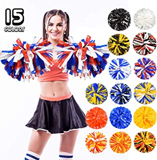 PUZINE 2pack 14 Cheerleading Pom Poms with New Handle for Team Spirit Sports Dance Cheering Kids Adults