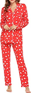 Ekouaer Pajamas Women's Long Sleeve Sleepwear Soft Pj Set XS-XXL