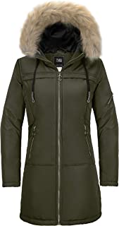 Women's Long Winter Parka Coat Thick Padded Puffer Jacket with Fur Hood