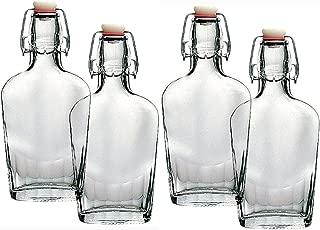 Bormioli Rocco Fiaschetta Glass 17 Ounce Pocket Flask, Set of 4