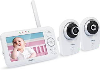 VTech VM351-2 5 Digital Video Baby Monitor with 2 Cameras Wide-Angle Lens and Standard Lens Silver and White