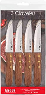 "3 Claveles - Set 4 Cuchillos Chuleteros ANGUS 12 cm – 4,5"""