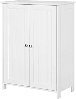 YAHEETECH Free-Standing Bathroom Cabinet Wood Side Cabinet Storage Organizer with Adjustable Shelves and Double Doors, 23....