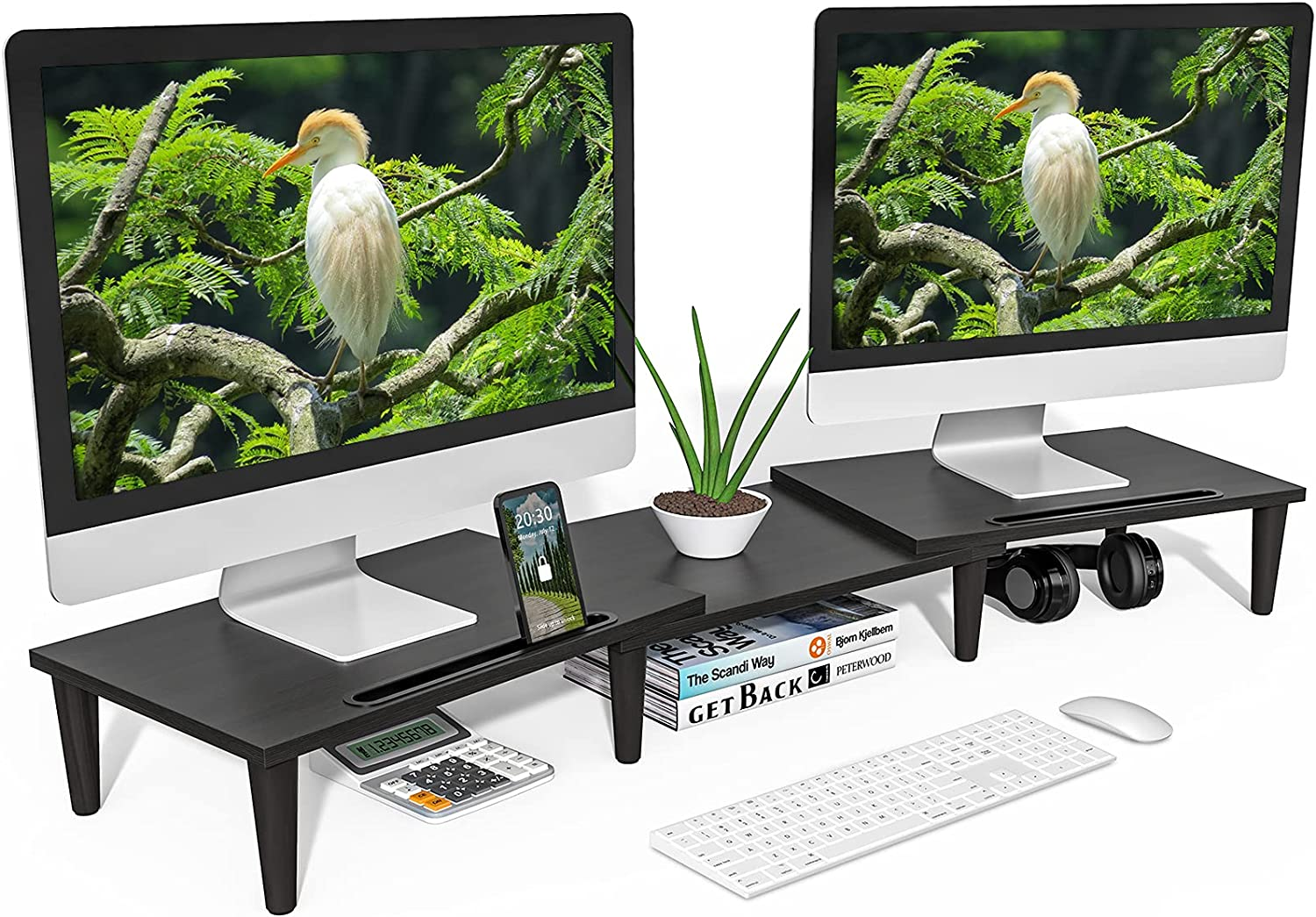 DOTER Dual Monitor Stand [Super Simple Assembly] Adjustable Length and Angle Computer Monitor Stand, with Tablet/Cellphone Slot Double Monitor Stand Riser for PC, Laptop, Compute, Printer etc (Black)