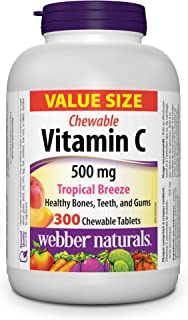 Webber Naturals Vitamin C Chewable 500 mg, Tropical Breeze, 300 Chewable Tablets