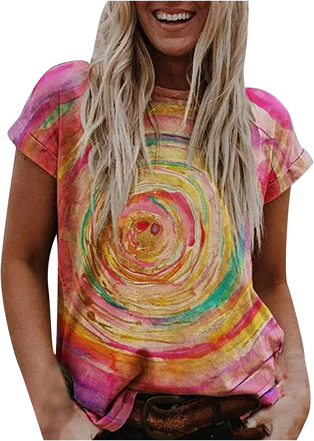 Womens 3D Floral Shirts Summer Casual Graphic Tee Vintage Short Sleeve Crewneck Blouse Loose Fit Tops