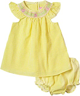 fc7f98e98 Good Lad Newborn?Infant Girls Yellow Bishop Collar Smocked Seersucker  Sundress with Matching Seersucker Panty