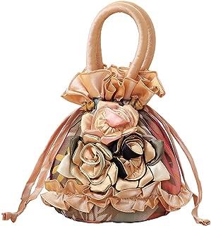 Yogwoo Women Roses Handbag Small Drawstring Bucket Bags For Women Flowers Bright Ruffles Printed Lace/Gauze Fully Lining