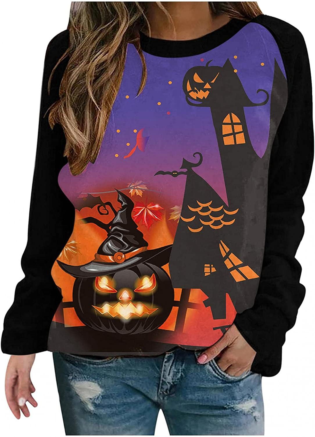 Max 63% OFF Halloween Crewneck Sweatshirt for Women Tunic Sleeve Long Recommended Casual
