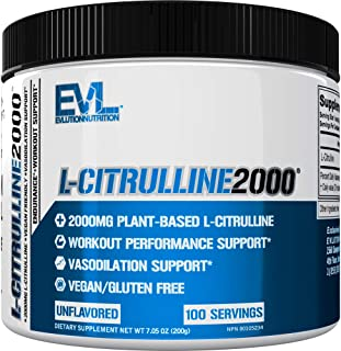 Evlution Nutrition L-Citrulline2000, Ultra-Pure Plant-Based Citrulline Powder Supplement, Enhance Muscle Strength and Vasc...