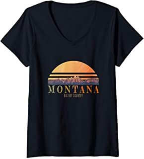 Womens Montana big sky country V-Neck T-Shirt