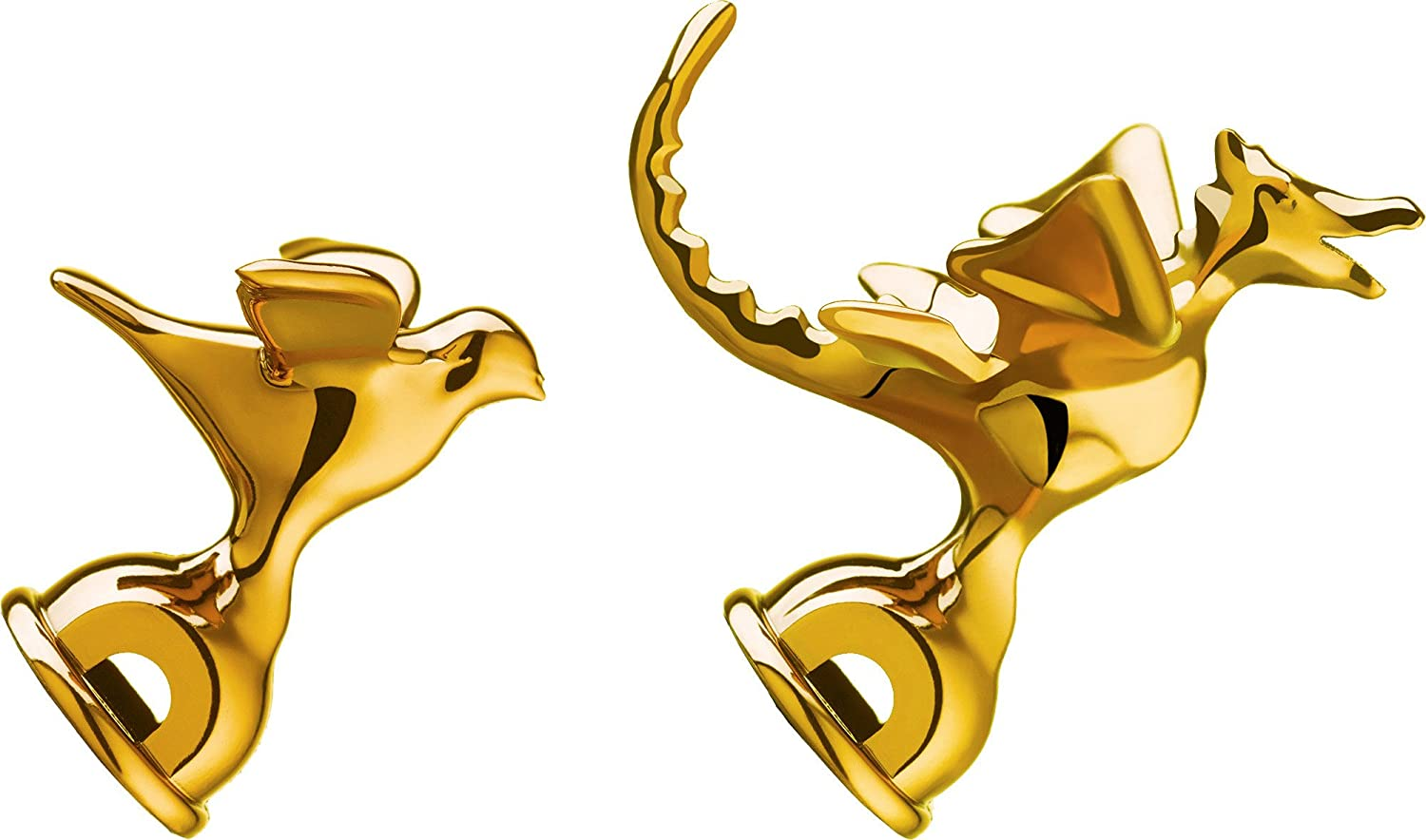 Alessi Whistles in Pa Brass Metallic Finish Limited Edition Of 9999 (Set of 2), gold