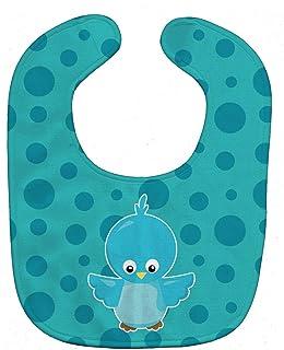 Caroline's Treasures Baby Bib, Bird on Blue Polkadots, Large