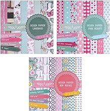East-West Trading - 3blocs de papel de 20 hojas cada uno, impresas porambos lados, papel de diseño, papel para manualidades, 60hojas, 24diseños