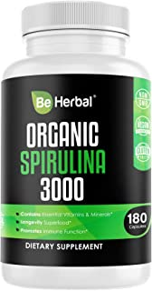 BE HERBAL Organic Spirulina 3000mg – Highest Potency Spirulina Powder for Natural Energy & Detox – Complete Superfood Supplement Packed Antioxidants, Protein & Vitamins in Vegan Friendly Capsules