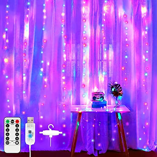 XERGY Window Curtain String Light 300 LED 8 Lighting Modes Fairy Lights Remote Control USB Powered Waterproof Lights for Diwali...