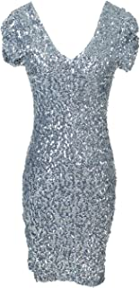 Womens Sexy Short Sleeve Sequin Bodycon Mini Cocktail Party Club Dress