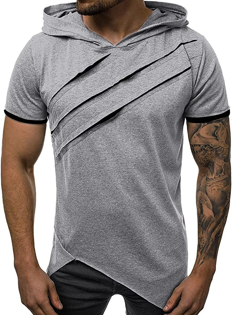 KEEYO Mens Hipster Hip Hop Hoodie Pullover Bodybuilding Muscle Cut Off Summer Short Sleeve Gym Hoodies Workout T-Shirts