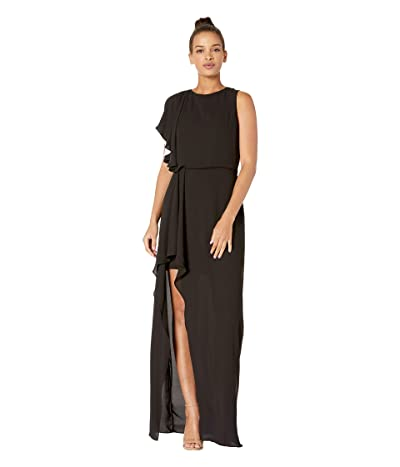 Halston Heritage Flowy One Shoulder Gown with Flounce Drape Skirt (Black/Chalk) Women