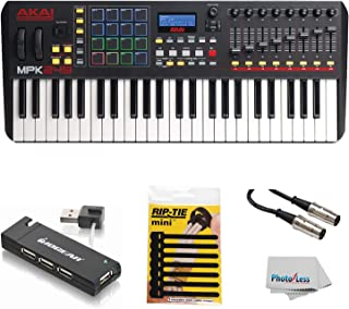 $399 » Akai Professional Compact Keyboard Controller (49-Key) with 4-Port USB 2.0 Hub + MIDI Cable Pack of Cable ties & Cleaning Cloth