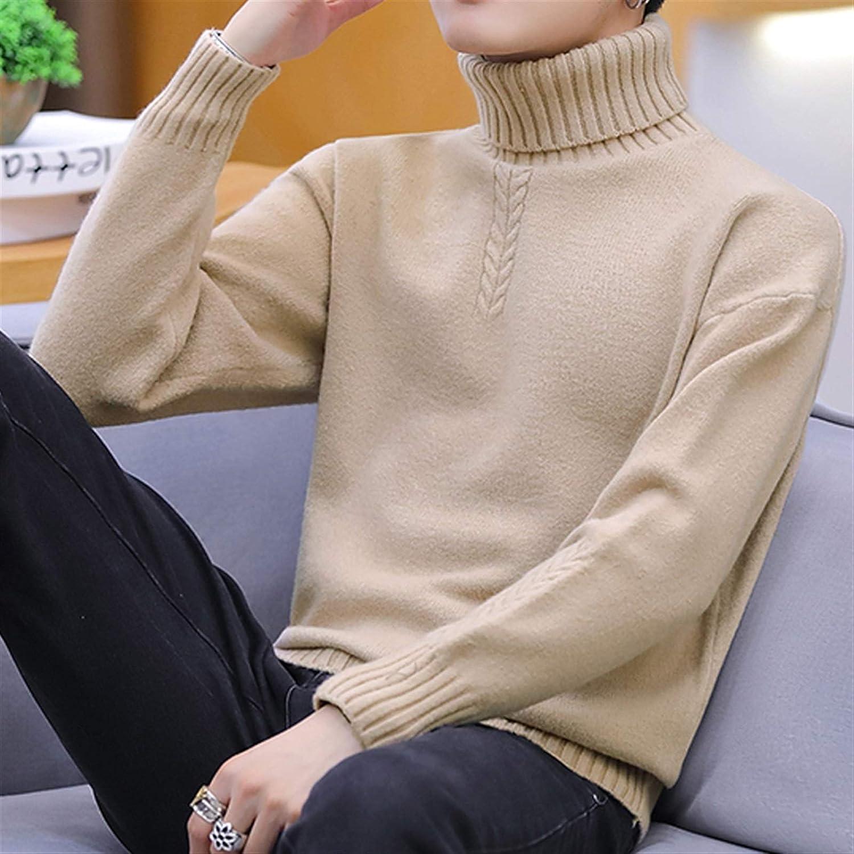 DZHT Solid Colors Jumper Men Turtleneck Sweater Winter High Elasticity Slim Pullover Men Knitwear Men Clothing (Color : 5021 Khaki, Size : Asian Size XXXL)