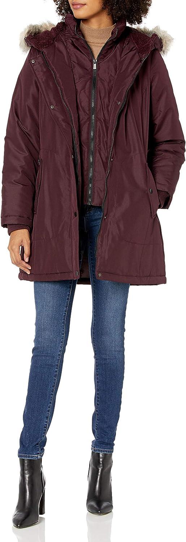 INTL d.e.t.a.i.l.s womens Cinchable-waist Coat With Cozy-trimmed Hood