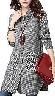(ブーラン ブラン) Bulan Blanc チェック Aライン ボタン シャツ ワンピース チュニック レディース ビッグシャツ (L, チェック小)