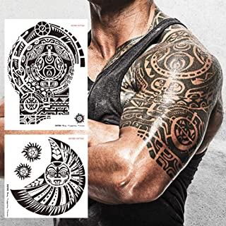 Kotbs 2 Sheets Extra Large Totem Temporary Tattoo Stickers, Waterproof Big Temporary Tattoos for Men Adults Guys Women Bod...