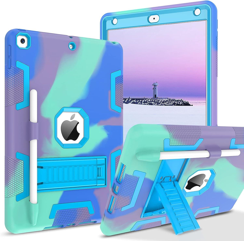 BENTOBEN iPad 9th Generation Case, iPad 8th Generation Case, iPad 7th Generation Case, iPad 10.2 2021 / 2020 / 2019 Case, 3 in 1 Heavy Duty Rugged Kickstand Protective Case with Pencil Holder, Camo
