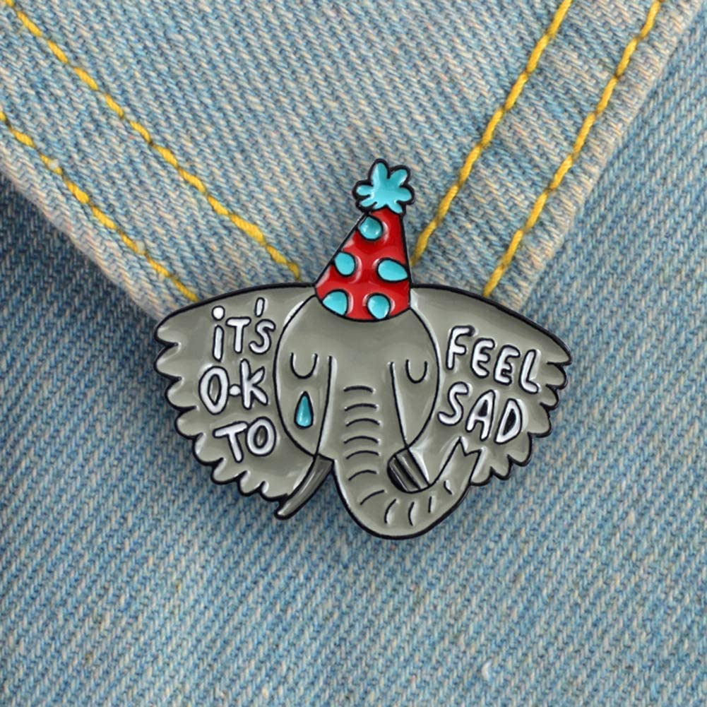 GLOA Men Women Brooch Pin, Fashion Elephant Letter Enamel Collar Lapel Pin Badge Brooch Jewelry Decor
