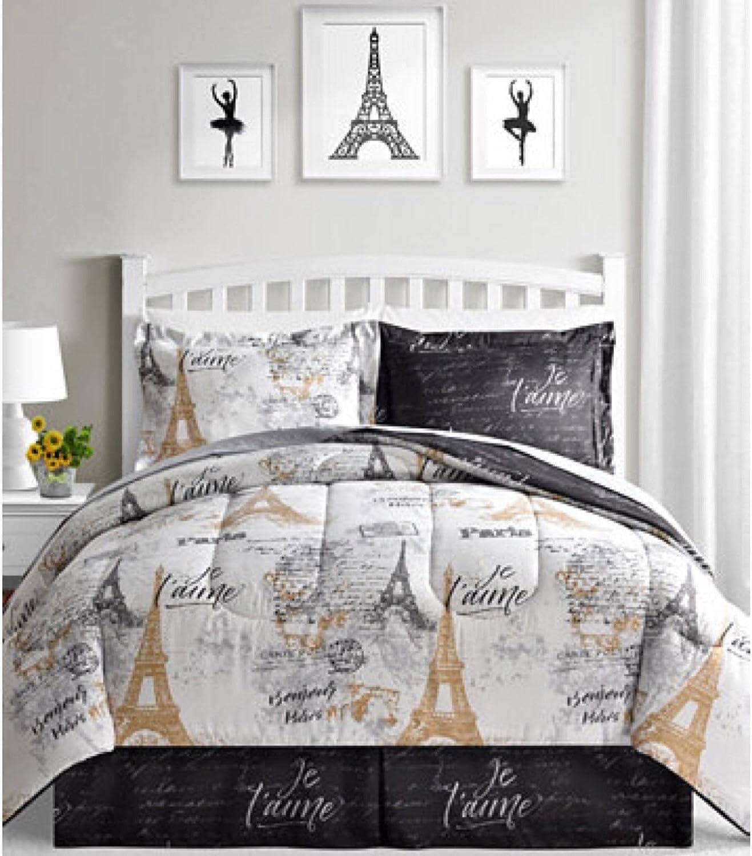 BonJour Paris Eiffel Tower Black C King White Reversible Cal Very Translated popular