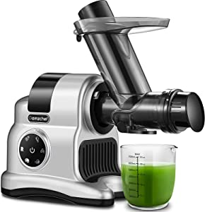 Cold Press Juicer, AMZCHEF Slow Juicer with 5-in-1 Multifunction, Metal Food Grinder Attachment,Slicer Shredder with Easy Cleaning, Ice Crusher Idea for Home, Party and Gathering