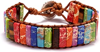 CNLQ Turquoise Wrap Boho Bracelets for Women Handmade Healing Stone Leather Braided Bead Wrap Bracelet Women Men Boho Jewe...