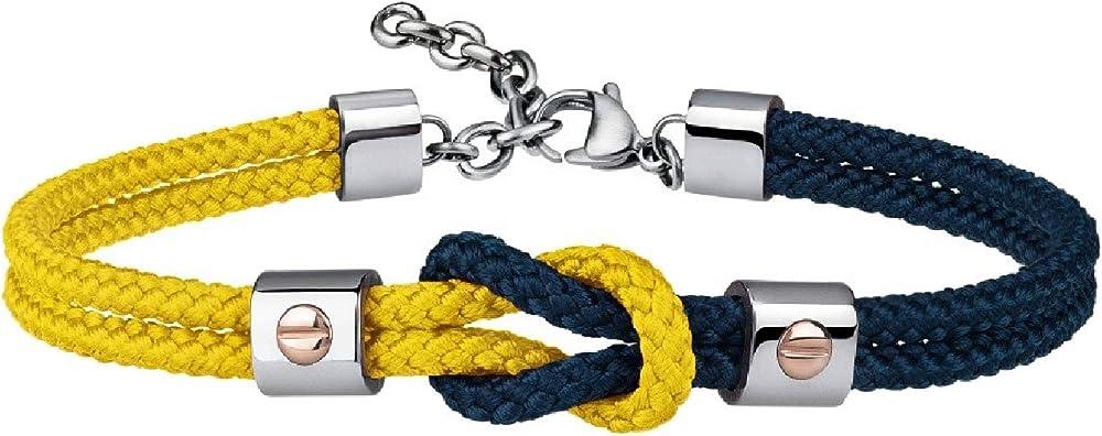 Breil, bracciale per uomo, in acciaio e cordura, con dettagli preziosi in oro 9k, blu-giallo