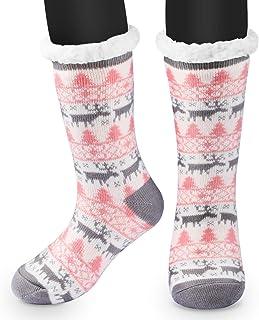 RenFox, Mujer Hombre Navidad Calcetines Invierno Calentar Pantuflas de Estar Por Casa Super Suaves Cómodos Calcetines Antideslizante…