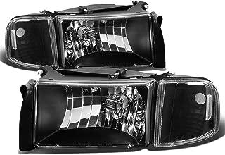For Dodge Ram 2nd Gen BR/BE 4Pcs Black Housing Clear Corner Headlight+Corner Light/Lamp