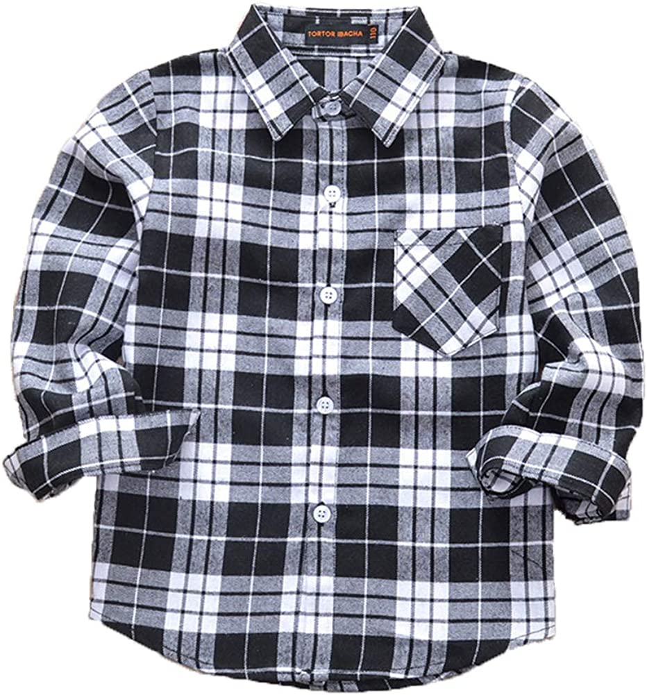 Lghxlxry Kid Girls Boys Long Sleeve Button Down Flannel Plaid Shirt with Pocket