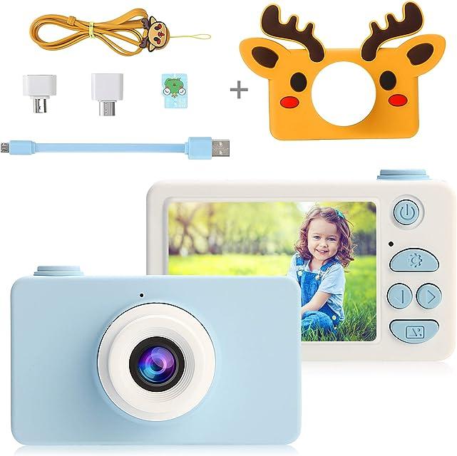 PELLOR Cámara de Fotos para Niños 2.0 LCD HD 24MP Recargable Mini Camara Infantil Anti-Shock Cámara Digital para niños Portátil Selfie Videocamera para niña con Tarjeta de 16GB TF