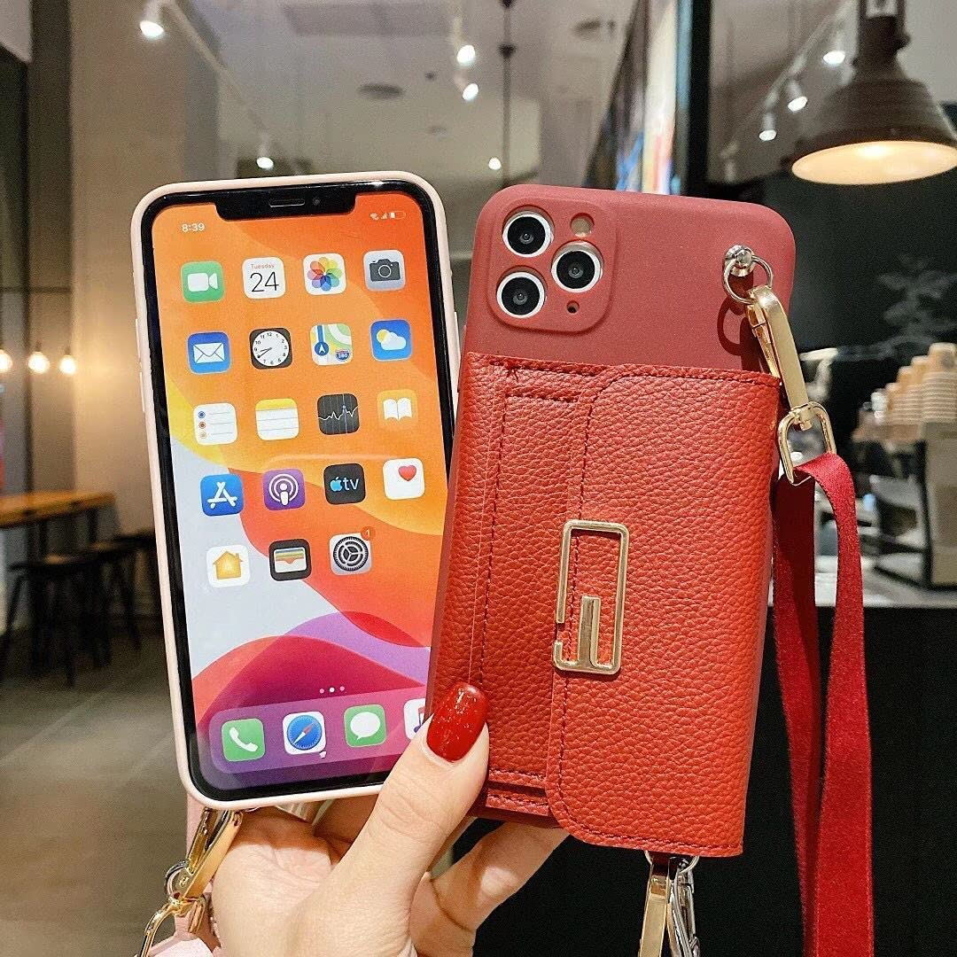 ISYSUII Crossbody Wallet Case for Samsung Galaxy Note 10 Plus Card Holder Case with Wrist Strap Kickstand Removable Shoulder Strap Soft Leather Purse Protective Cover Gift for Women Girl,Red