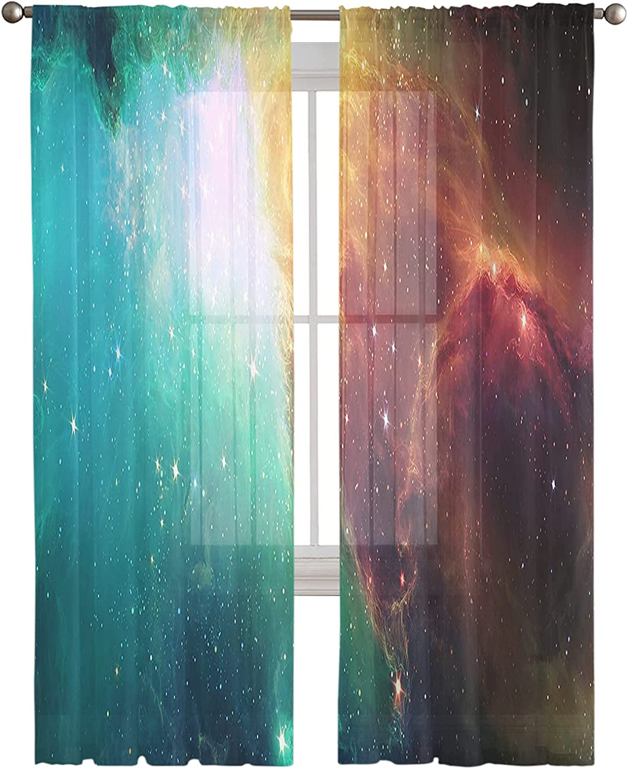 Sheer Curtains 96 Spring new work Inches Long Nebula Panels 2 Semi Cheap SALE Start Cloud