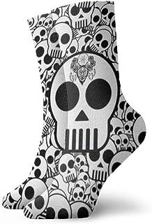 OUYouDeFangA, Muchos lindos calaveras adultos calcetines de algodón divertido calcetines cortos para yoga, senderismo, ciclismo, correr, deportes de fútbol