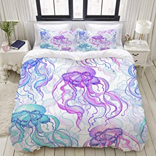 """Mokale Bedding Duvet Cover 3 Piece Set - Hand Drawn Watercolor Jellyfishes - Decorative Hotel Dorm Comforter Cover with 2 Pollow Shams - King 104""""X90"""""""
