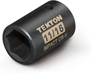 TEKTON 47754 1/2-Inch Drive by 11/16-Inch Shallow Impact Socket, Cr-V, 6-Point