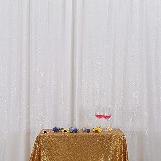 SquarePie Pailletten Hintergrund Fotografie Hintergrund glitzernder Vorhang Selfie Wand für Hochzeit Party, weiß, 8x8FT