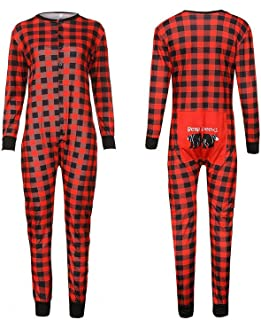 Gerzely Plaid Family Pajamas Sets, Unique Design Round Neck Long Sleeve Printed Jumpsuit Kids Holiday Sleepwear Homewear Easy Wearing Casual Clothing,Dad,M