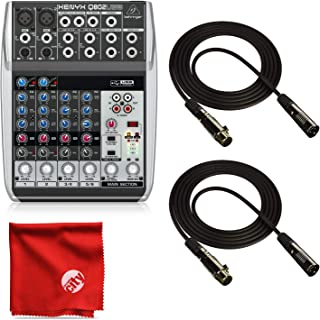 Behringer Xenyx Q802USB 8-Input USB Mixer Bundle with 2 10ft XLR Cables and Microfiber Cleaning Cloth